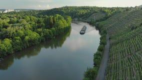 Buque de carga en un río en los viñedos y el bosque medios del ocaso almacen de video