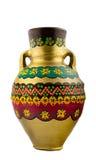 Buque de consumición egipcio pintado oro de la cerámica Imagenes de archivo