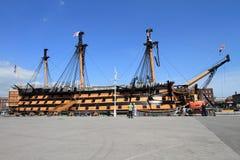 Buque de guerra de la victoria del HMS en Portsmouth, Reino Unido Foto de archivo