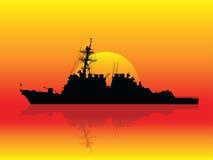 Buque de guerra en la puesta del sol Fotografía de archivo libre de regalías