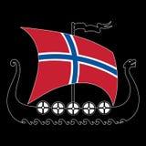 Buque de guerra de la bandera de Vikingos - de Drakkar y de Noruega fotos de archivo