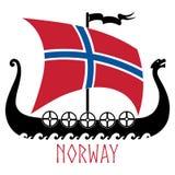 Buque de guerra de la bandera de Vikingos - de Drakkar y de Noruega fotografía de archivo