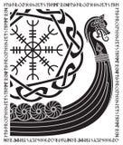 Buque de guerra de los Vikingos Drakkar, modelo escandinavo antiguo y runas de los nórdises stock de ilustración
