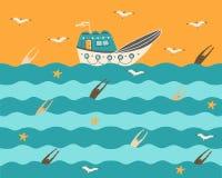 Buque en el mar en la puesta del sol con las gaviotas ilustración del vector