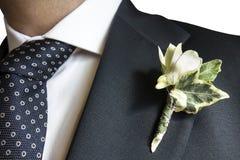 Buque insignia azul del traje del hombre elegante del primer Fotos de archivo