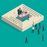 Burócrata en el laberinto Soporte de la gente en una coleta Concepto de la burocracia Ejemplo isométrico del vector plano 3d Imagenes de archivo