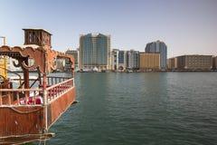 Bur Dubai Abra Dock Arkivfoto