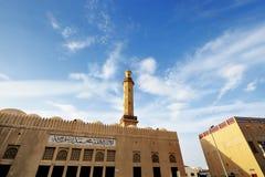 Bur Dubai and Al Juma Grand Mosque at sunset Royalty Free Stock Images