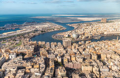 Bur Dubai and Deira, aerial view of Dubai Creek Royalty Free Stock Photos