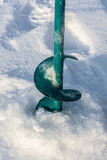 Bur for ice fishing. Bur for winter fishing, which cut into the ice stock images