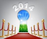 Buraco da fechadura 2014 da porta do ano novo Fotos de Stock