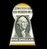 Buraco da fechadura & dinheiro, 1 USD Segredos do negócio Fotografia de Stock Royalty Free