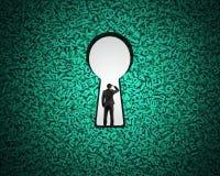 Buraco da fechadura no fundo grande verde dos dados com posição do homem de negócios ilustração do vetor