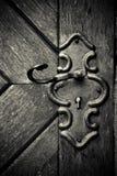 Buraco da fechadura retro na porta de madeira velha Fotografia de Stock Royalty Free