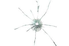 Buraco de bala no vidro grosso Imagens de Stock
