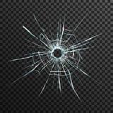 Buraco de bala no vidro transparente Fotografia de Stock Royalty Free