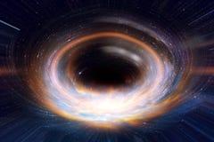 Buraco negro ou wormhole no espaço da galáxia e épocas transversalmente na arte do conceito do universo fotografia de stock