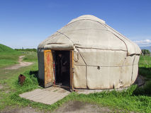 Burana ancient settlement. Yurt-house nomads. The ancient city Balasagun. 10th century AD. Silk Road. Kyrgyzstan. Architectural Museum. Burana ancient settlement Stock Photo