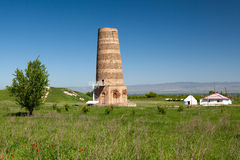 Burana landscape. Kyrgyzstan tower Stock Photos