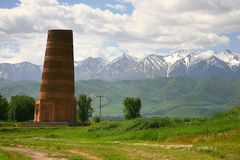 The Burana Tower in the Chuy Valley at northern of the country& x27;s capital Bishkek, stock photo