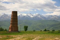 The Burana Tower in the Chuy Valley at northern of the country& x27;s capital Bishkek, stock photos