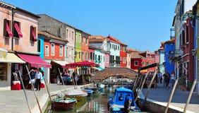 Burano海岛在威尼斯式盐水湖意大利 库存照片