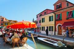 Burano海岛在威尼斯式盐水湖意大利 库存图片