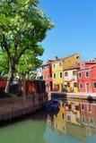 Burano海岛在威尼斯式盐水湖,意大利 库存照片