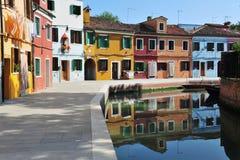 Burano海岛在威尼斯式盐水湖,意大利 库存图片