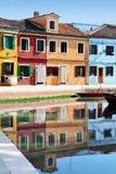 Burano海岛在威尼斯式盐水湖,意大利 免版税库存图片