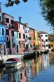 Burano海岛在威尼斯式盐水湖,意大利 免版税库存照片