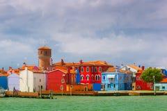Burano的五颜六色的房子,威尼斯,意大利 库存图片