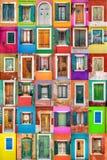 Burano的团结的颜色 免版税库存照片