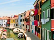 Burano,一个海岛在威尼斯式盐水湖 免版税库存图片