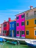 Burano,一个海岛在威尼斯式盐水湖 库存图片