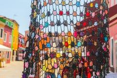 Burano,威尼斯海岛,五颜六色的镇在意大利 库存照片