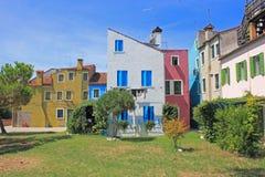 Burano, σπίτια από το πάρκο Στοκ Φωτογραφία
