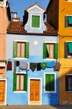 Burano. Colorful houses on the island of Burano Royalty Free Stock Image