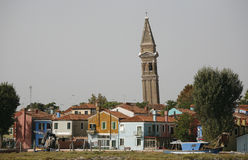 Burano. The island Burano Italy with the skew bell tower in the Venice lagoon Stock Photo