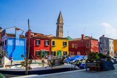 Burano street out of tourists path stock photos