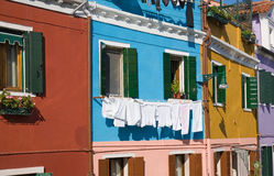 Burano  bright-colored houses Stock Images