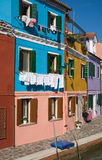 Burano brightly-colored houses Stock Image