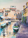 Burano. Building landmarks-colorful houses on Burano island,Italy.Picture created with watercolors Stock Image