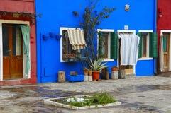 Burano, casa azul Imágenes de archivo libres de regalías