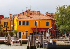 Burano. The central pier of the commune. Royalty Free Stock Photography