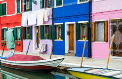 Burano channel and colorful houses, Venice Stock Photo