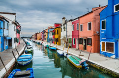Burano, channel view, Venice in Italy Stock Image