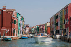 Burano Channels. Channels on very colorful Burano island, Italy stock photos