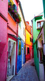 Burano colorful building in alley Royalty Free Stock Photo