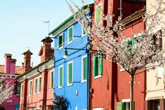 Burano. Colorful houses in the old town of Burano, a little island  in Venice lagoon, Italy Royalty Free Stock Images